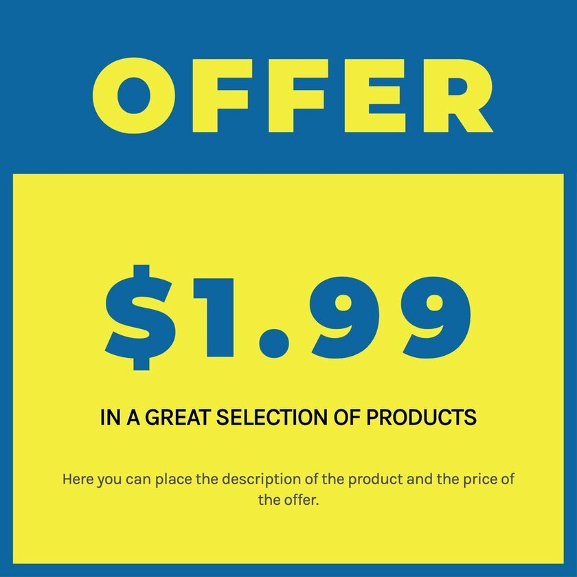 Editable sign for product pricing offers in blue and yellow, ready to print