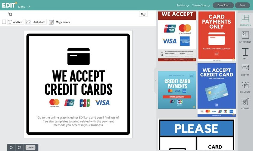 Payment templates and icon online graphic design editor