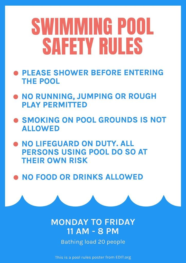 Free swimming poolpool rules sign sign to print
