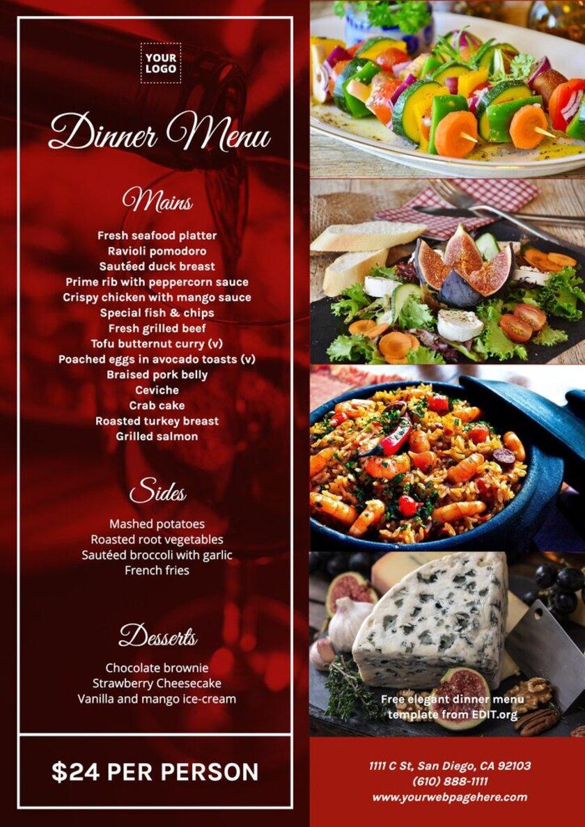Customizable dinner menu design for restaurants to edit online