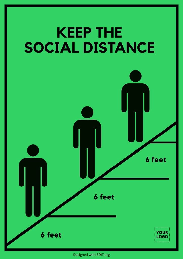 Keep the distance queue free poster template