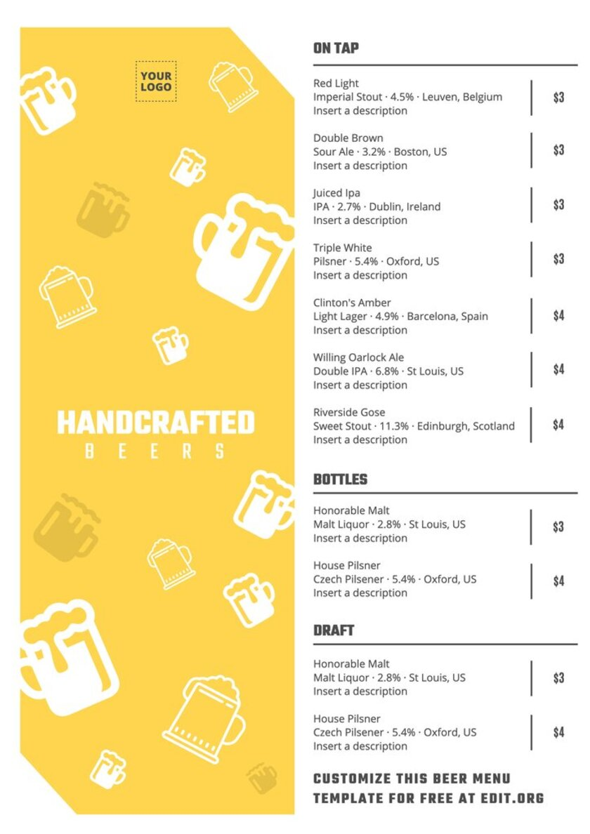 Menu Beer design template to edit online for your brewery