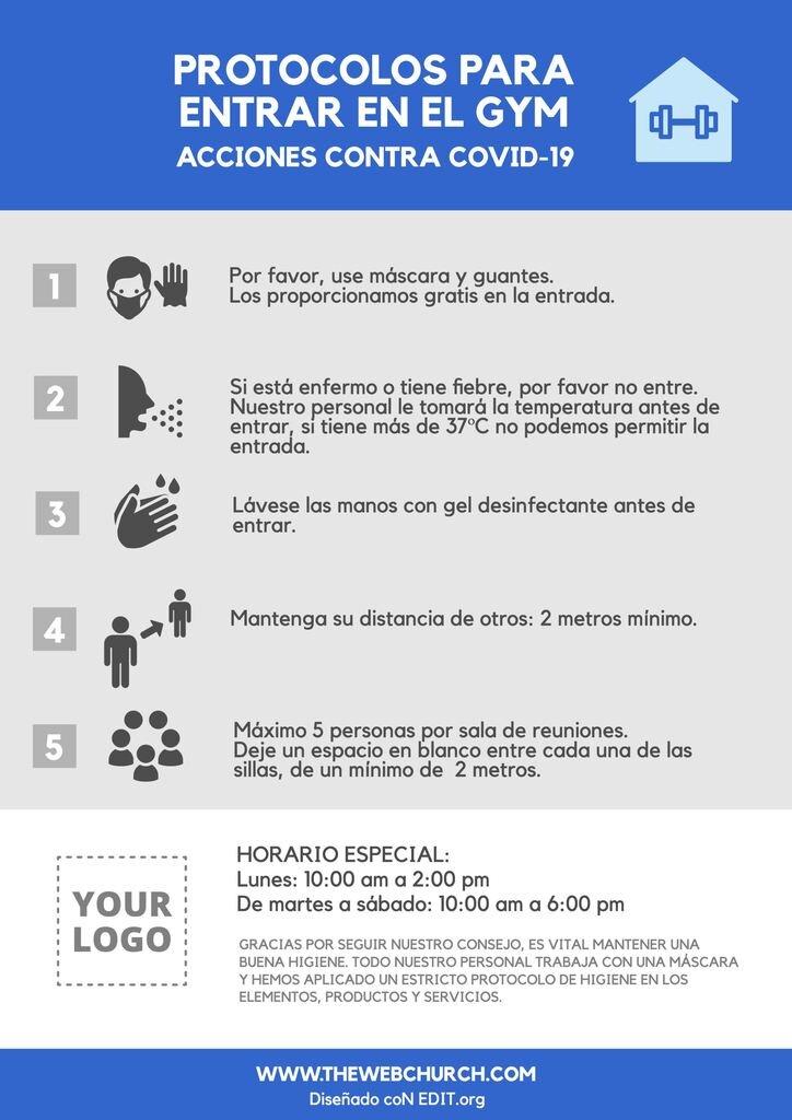 Plantilla con consejos gym Coronavirus