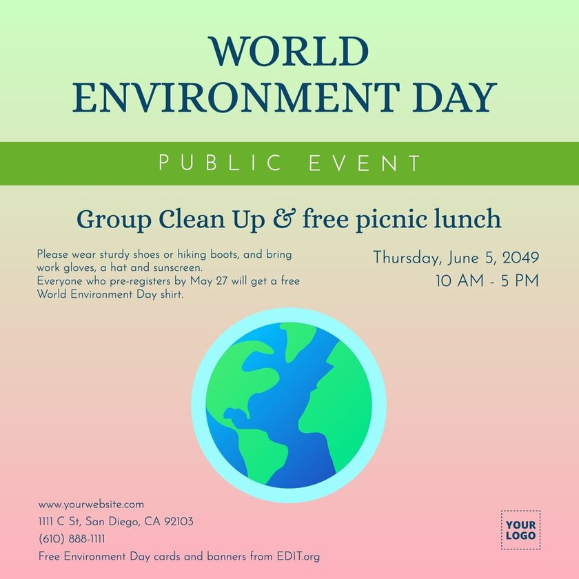Free World Environment poster with slogan