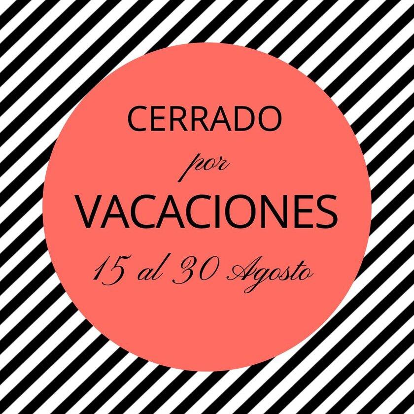Plantilla editable cerrado por vacaciones para moda, con rayas blancas y negras y mancha rojo pálido