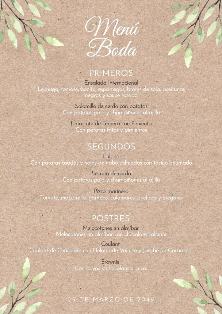 Plantilla para editar menú para bodas vintage campestre