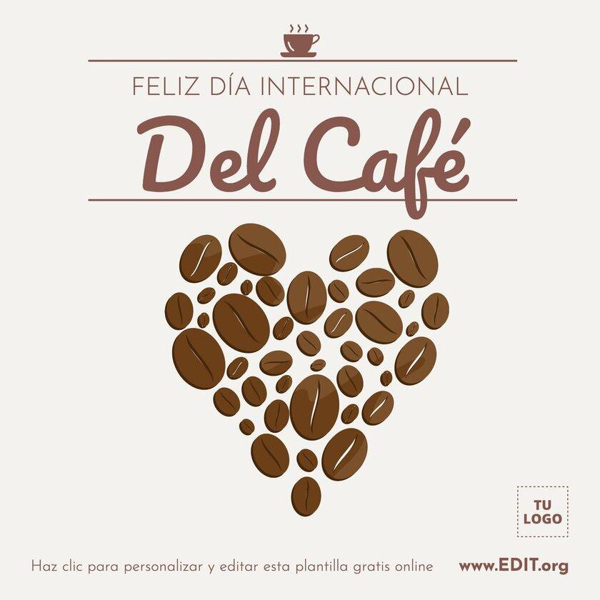 Tarjeta de felicitación para celebrar el Día del Café, editable online