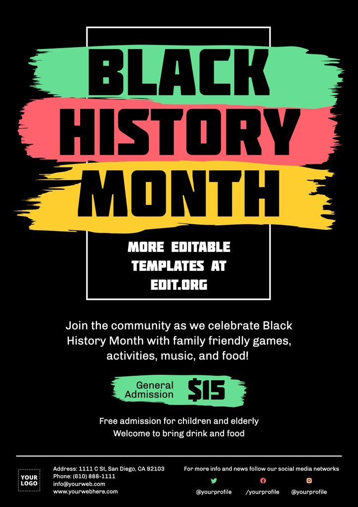 Black History Month poster template to custom online