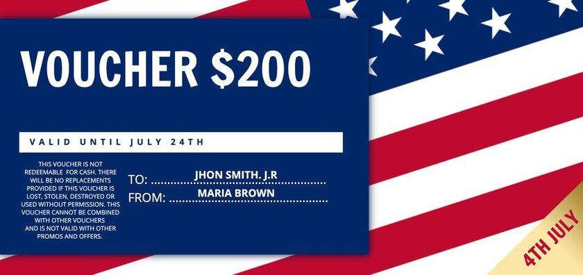 Voucher gift template with flag and USA colors