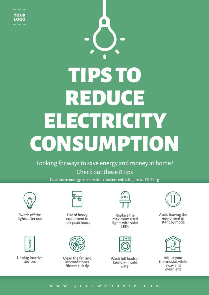 Free energy saving posters for workplace