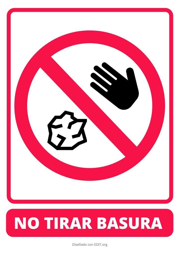 No tirar basura por favor cartel fácil de editar e imprimir