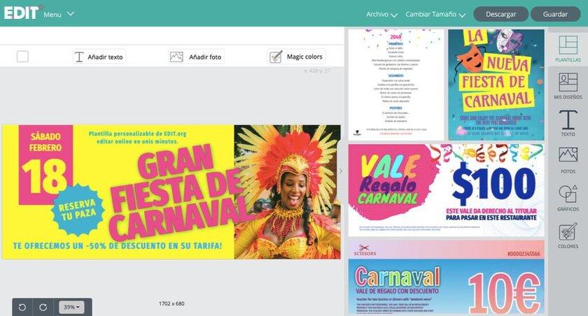 Plantilla para cartel de carnaval del editor online EDIT.org