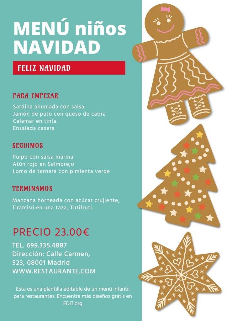 Menu infantil de Navidad editable gratis para restaurantes y pastelerías
