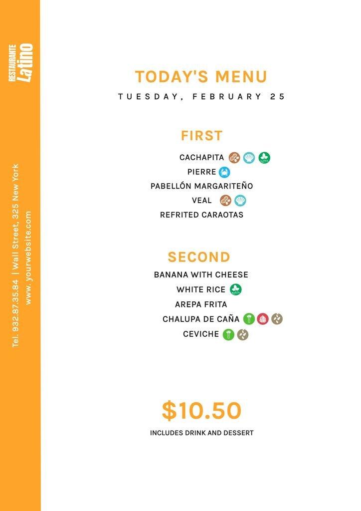 Latino restaurant menu with allergens