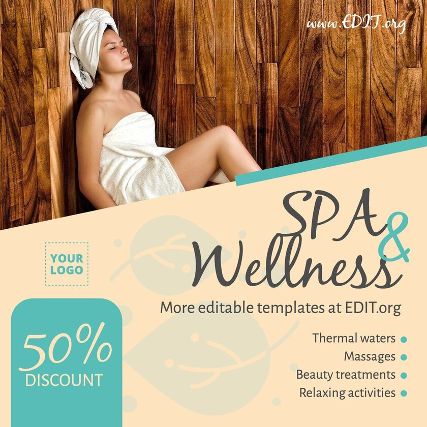 Spa & Wellness design template to create flyers and brochures