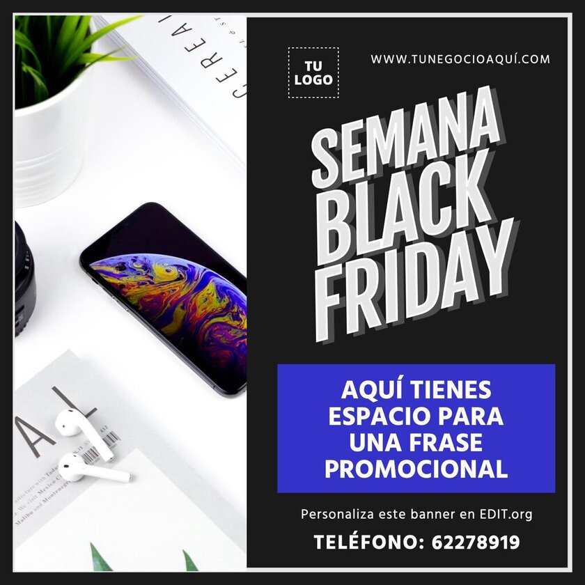 Cartel editable para la Semana Black Friday para editar online gratis
