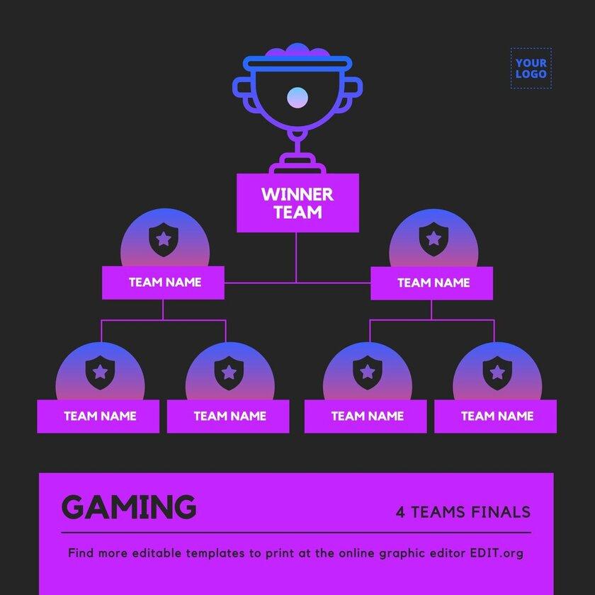 4 teams tournament bracket template to edit online free