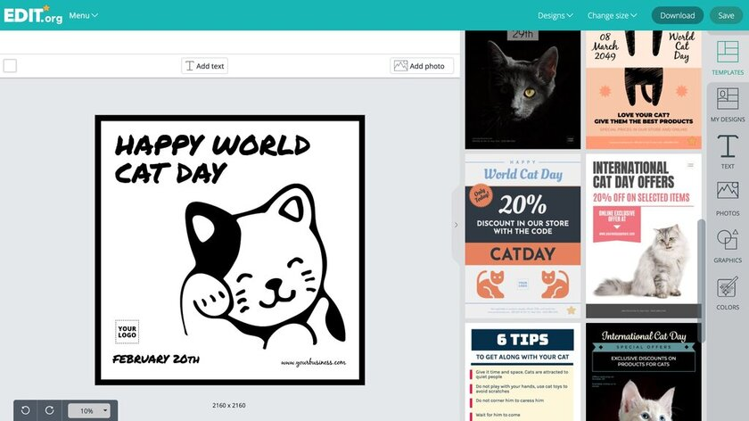 Graphic design templates to celebrate and promote international cat day