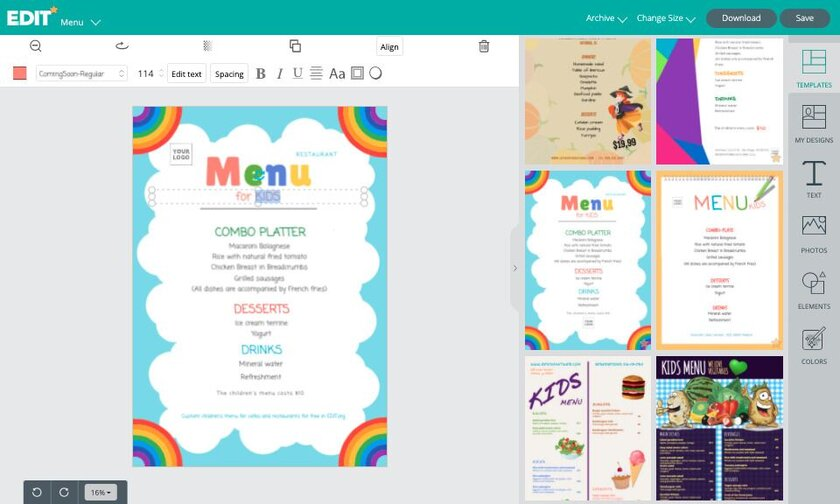 Graphic online editor with templates for kids menu for free