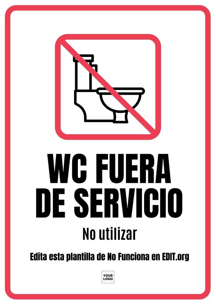 Cartel de baño (wc) fuera de servicio, personalizable online e imprimible