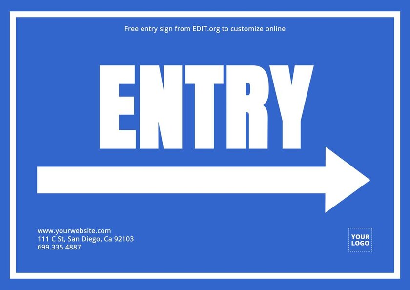 Editable entry free sign to print