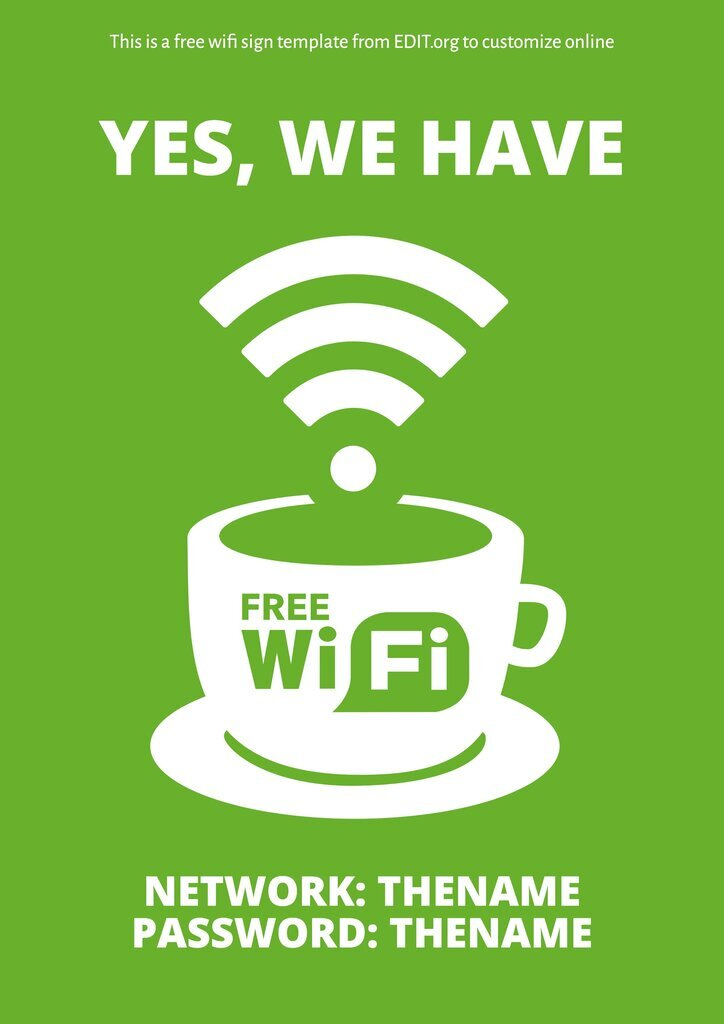 Free editable wifi template to print