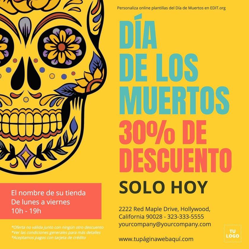 Banners y tarjetas del Dia de Muertos para editar