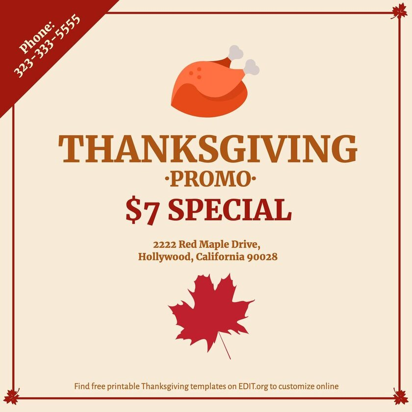 Thanksgiving poster template to customize online
