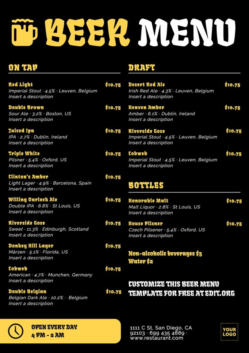 Craft beer menu to custom online for free for your craft brewery