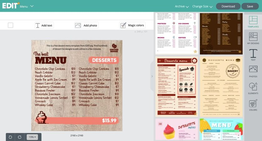 Dessert menu template for restaurants to customize online and for free