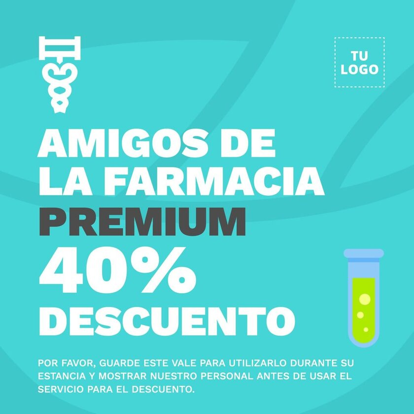 Plantilla diseño cartel editable para farmacias y parafarmacias