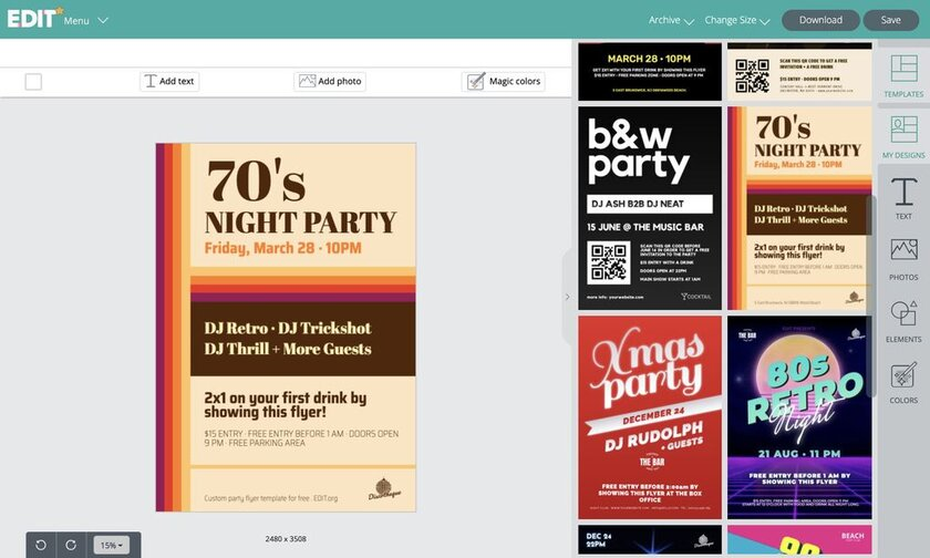 Party flyer templates graphic online editor