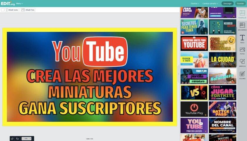 Creador online de miniaturas de Youtube personalizadas
