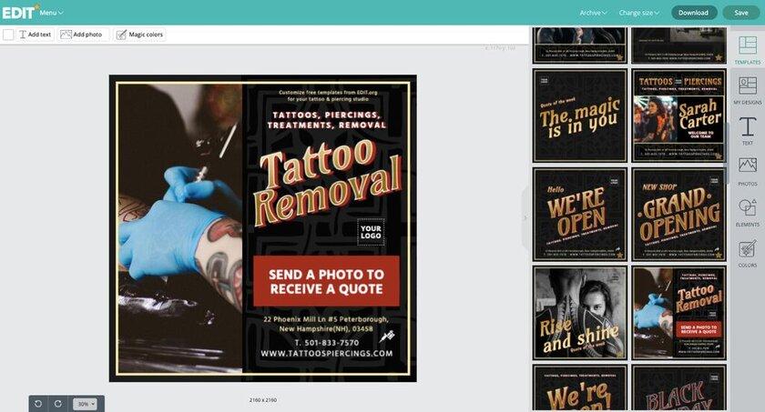 Diseños editables para estudios de tattoos y piercings