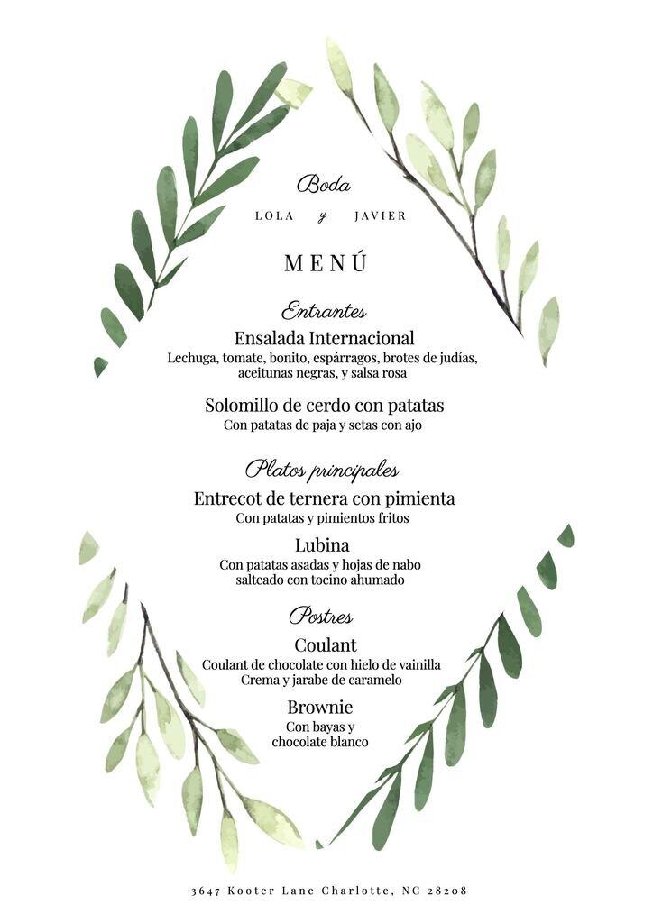 Plantilla de menú para una boda editable y gratis para editar