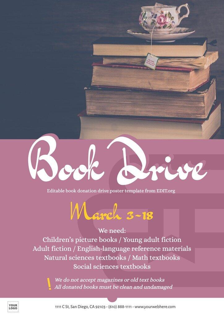 Custom book donation flyer to edit online