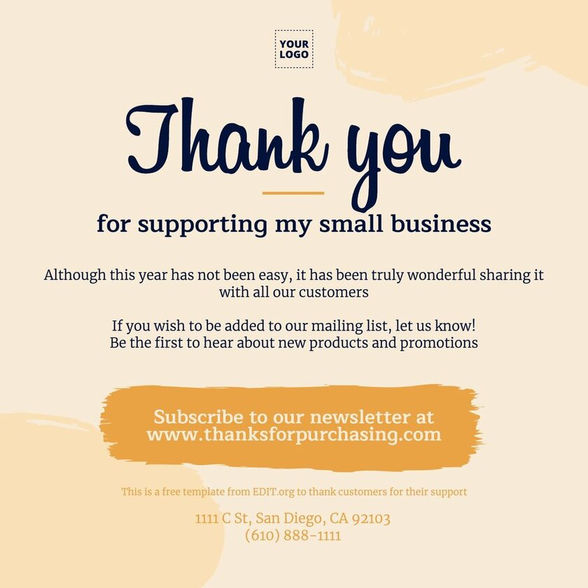 Custom thank you sign for customers