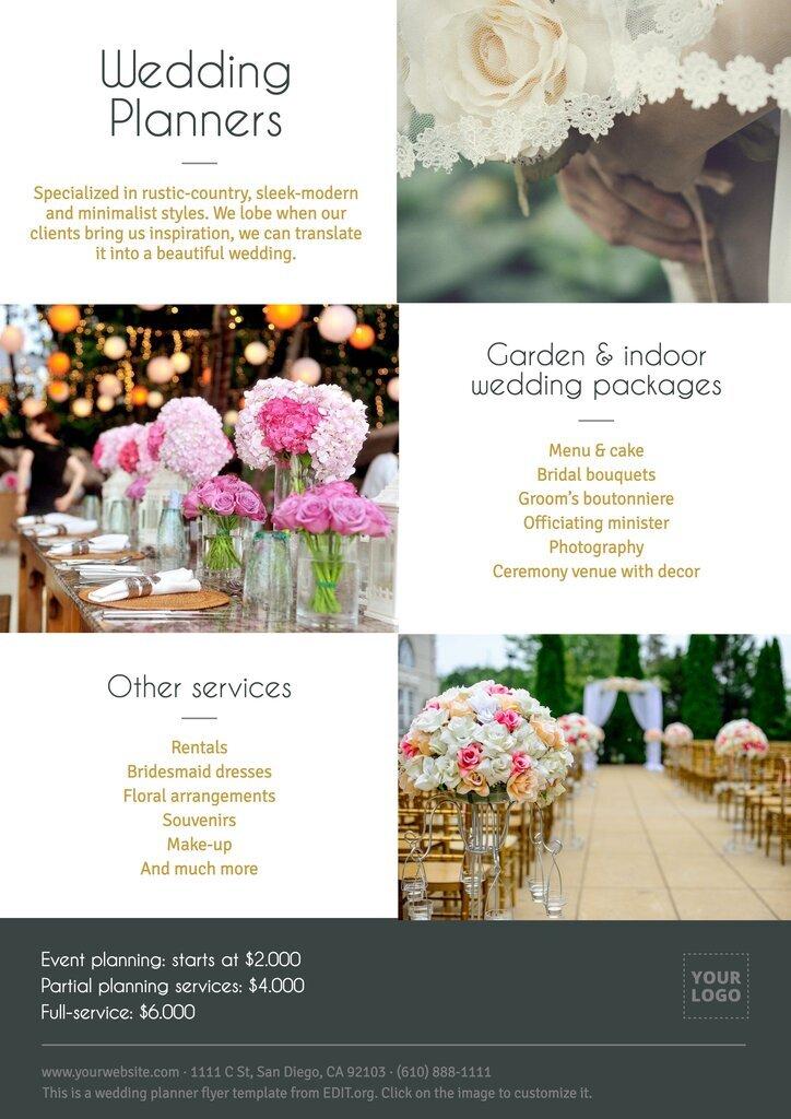 Printable wedding planner flyer to print