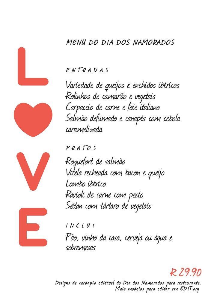 Cardápio editavel online para menu do Dia dos Namorados