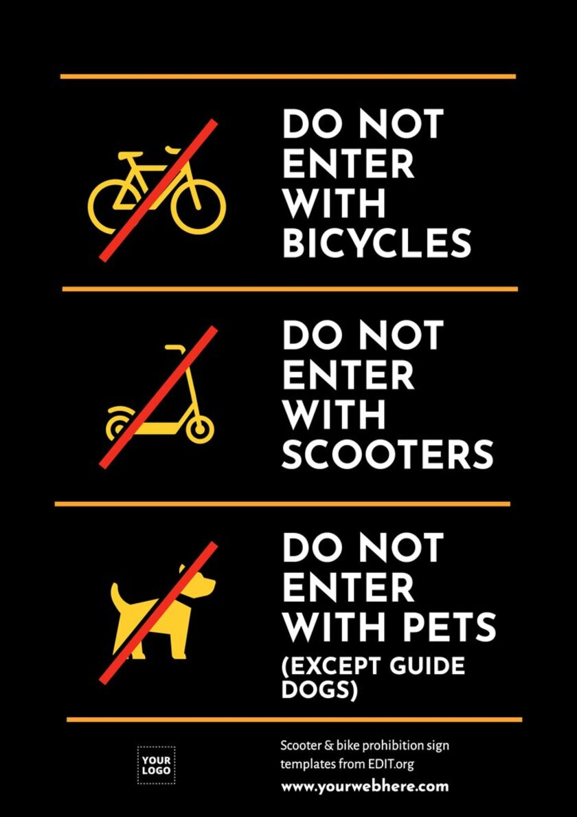 Custom sign of no bikes, scooters or pets