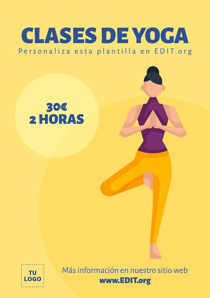 Plantilla editable para clases y cursos de Yoga