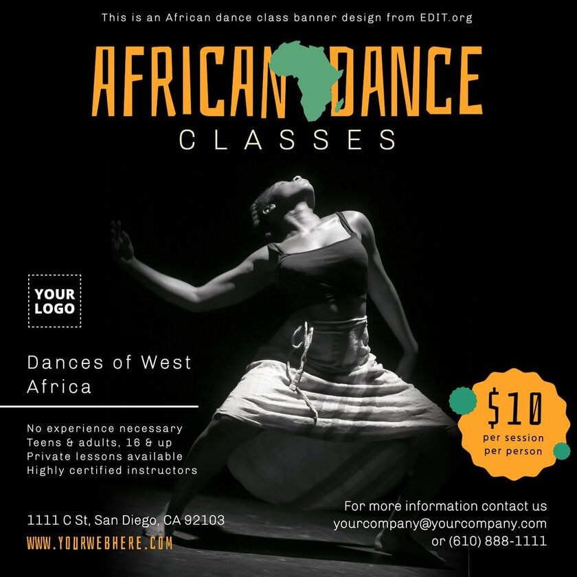 Custom African Dance class flyers and banners