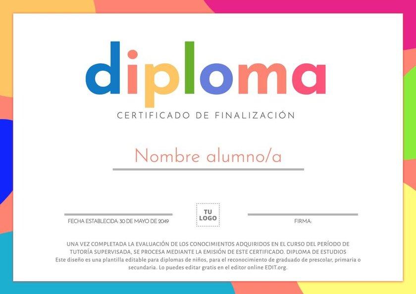 Plantilla editable de diploma de reconocimiento para niños de prescolar, primaria o secundaria para imprimir