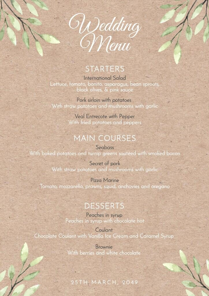 Wedding menu template free to edit, vintage and country style