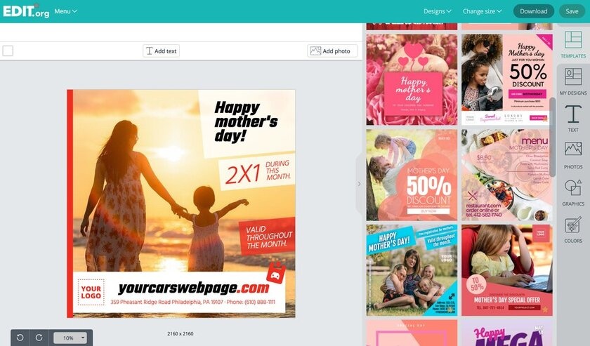 Editable graphic designs to promote mother's day sales and promotions