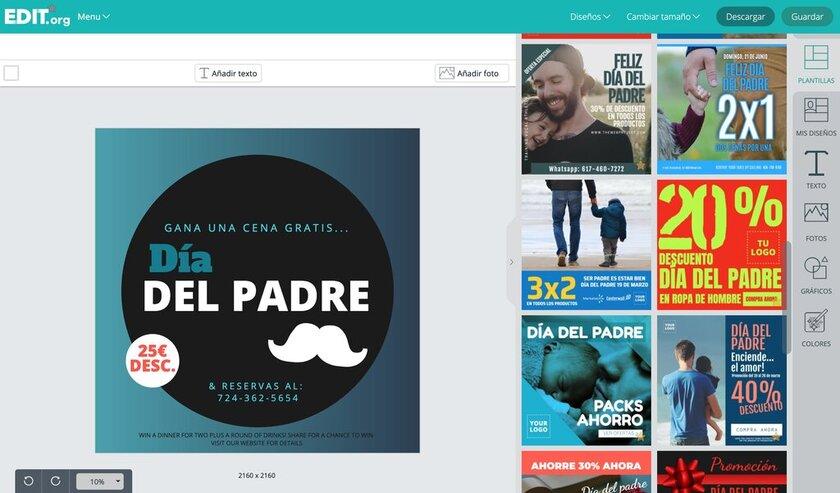 Diseños editables para promocionar el día del padre