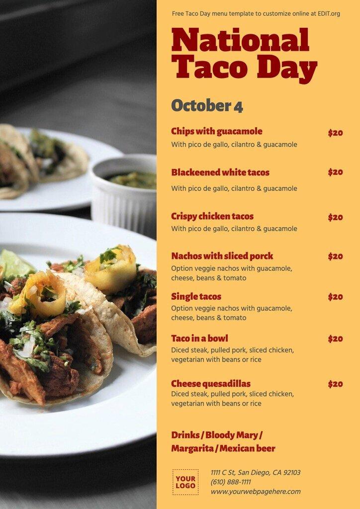 National Taco Day menu template