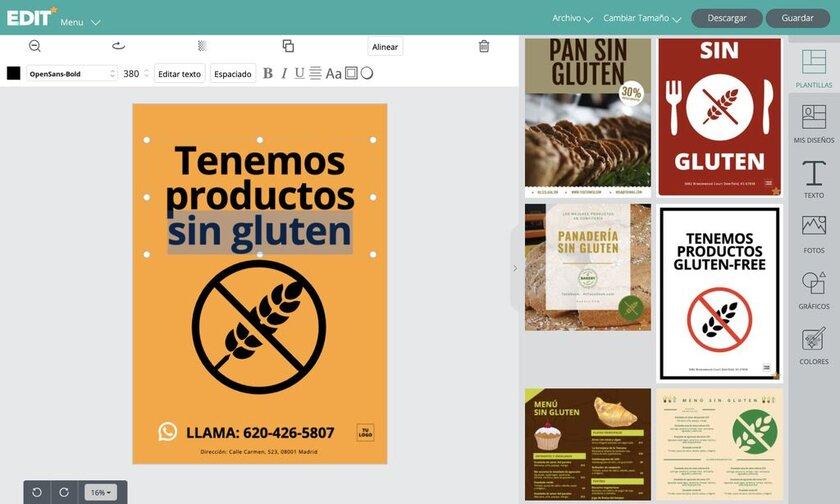 Editor gráfico online para crear carteles de productos y menus sin gluten