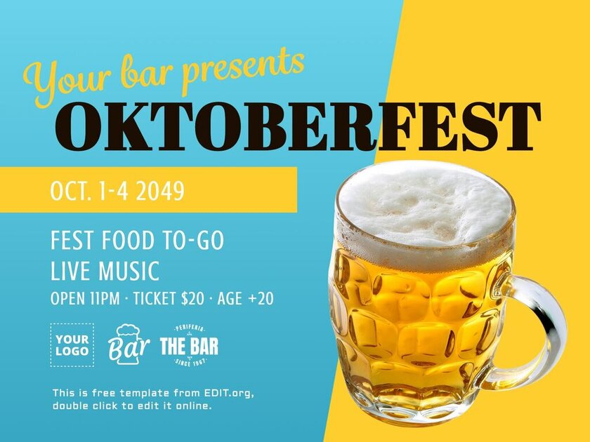 Oktoberfest poster menu templates for free to edit and print