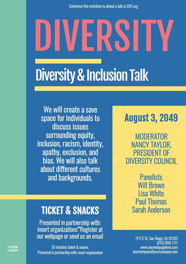 Diversity talk flyer template to personalize online